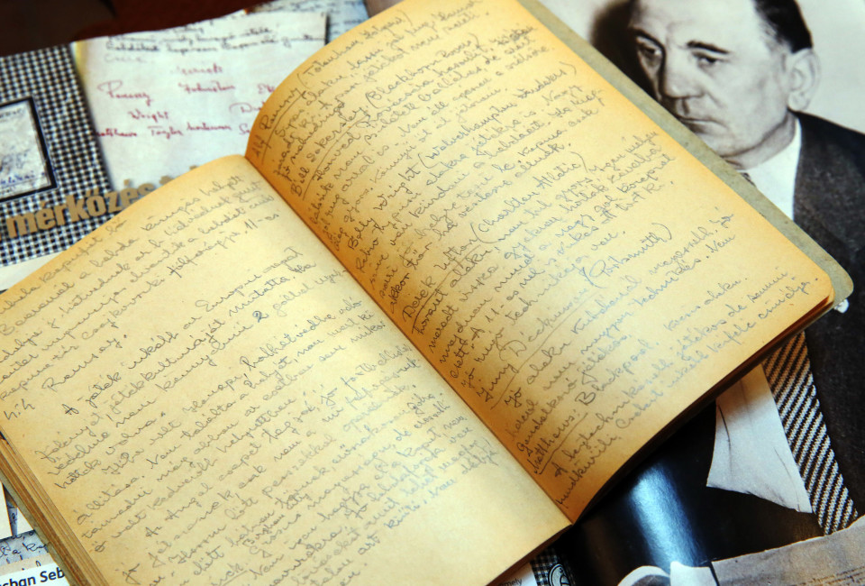 A notebook of late Hungarian soccer coach Gusztav Sebes is displayed in Hungary's Puskas Football Academy in Felcsut, November 21, 2013. Ahead of the 60th anniversary of Hungary's famous 6-3 thrashing of England at Wembley, a game credited with revolutionising football, Sebes's notebook was found in a private collection. In the ragged notebook, half-filled with handwritten observations, Sebes was dismissive about some of the great names of English football.