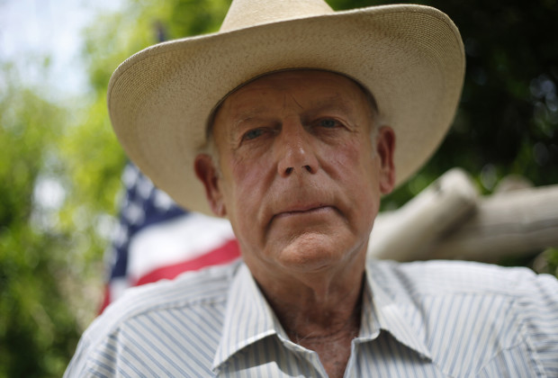 Rancher Cliven Bundy poses at his home in Bunkerville, Nevada.