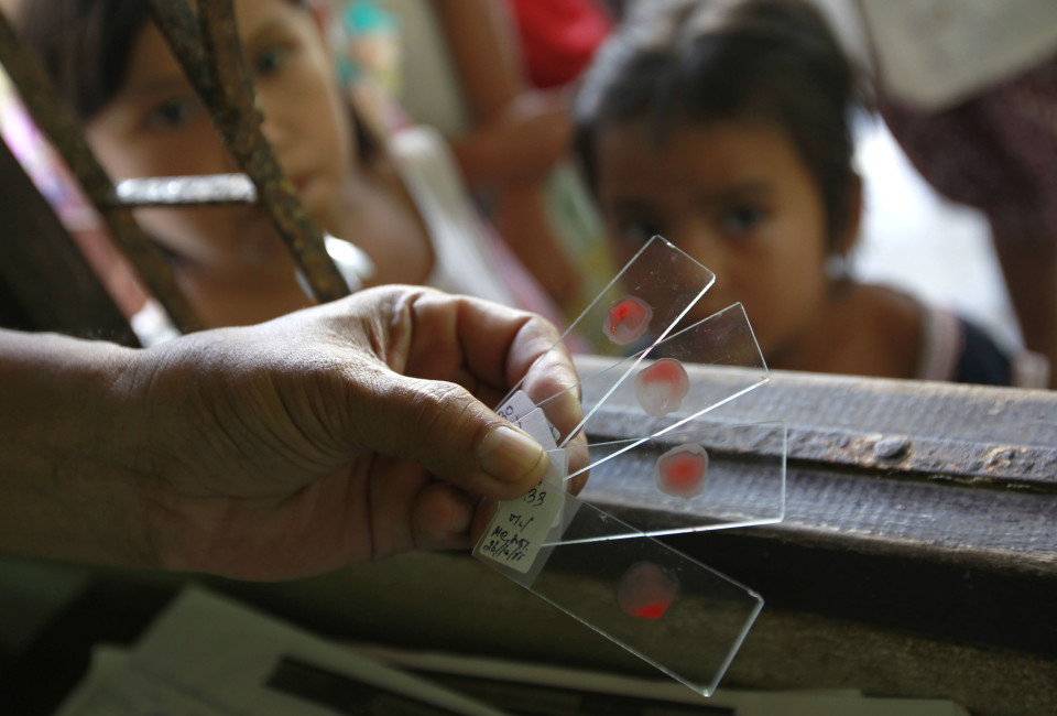 A Ministry of Public Health official holds blood test slides taken from children, who live in the Thai-Myanmar border, at a malaria clinic in the Sai Yoke district, Kanchanaburi Province.