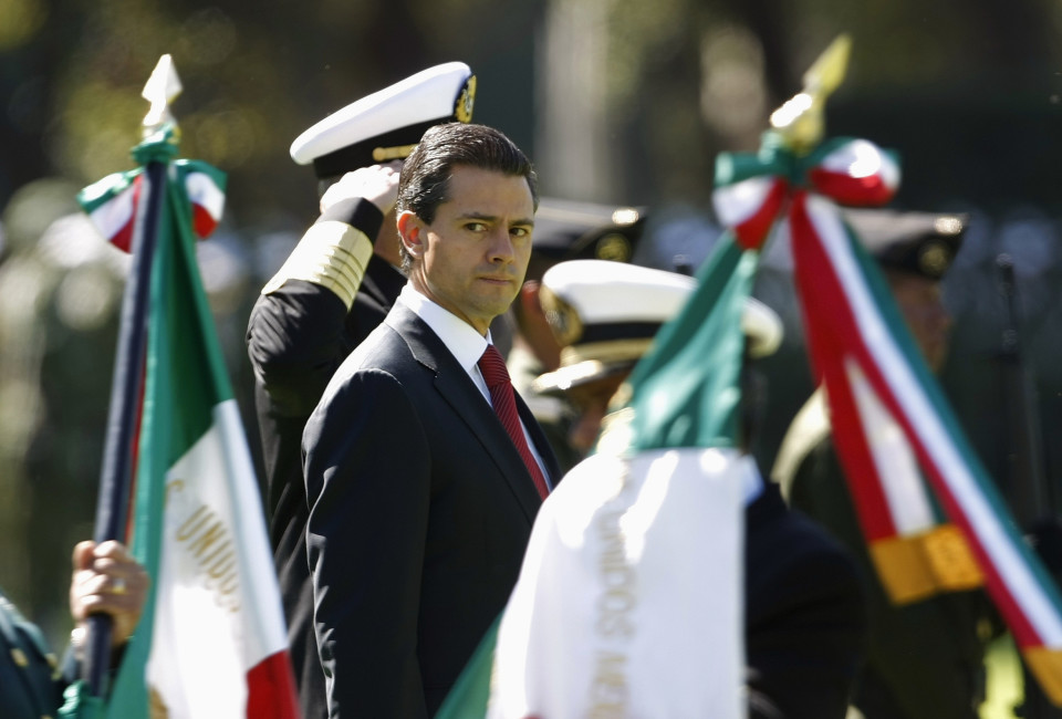 Mexico's President Enrique Pena Nieto looks on during Flag Day celebrations at Campo Marte in Mexico City.