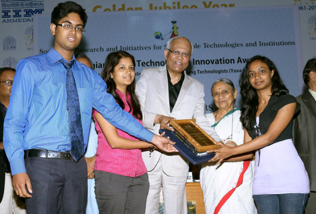 SHE- Society Harnessing Equipmen inventors Recieving their Gandhian Young Technological Innovation Award