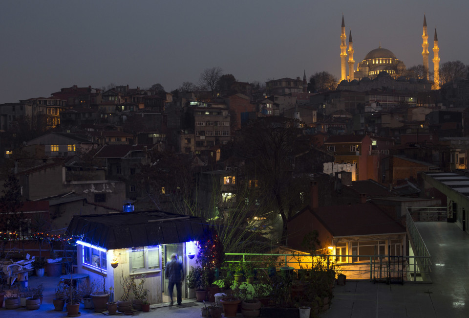 View of the 16th century Suleymaniye mosque, Istanbul's biggest and one of the most important works of Ottoman architect Mimar Sinan, which is located above the Suleymaniye neighborhood. Many homes in the neighborhood have been demolished to make way for a government mandated urban renewal project. CREDIT: JODI HILTON
