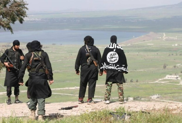 A photo published by Jabhat al Nusra, showing fighters overlooking the Quneitra region. On the horizon: Israel.