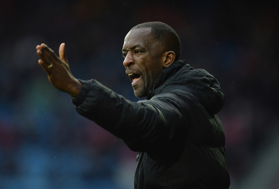 Chris Powell of Charlton Athletic gestures during the Budweiser FA Cup Fourth Round  match between Huddersfield Town and Charlton Athletic at John Smith's Stadium on January 25, 2014 in Huddersfield, England.