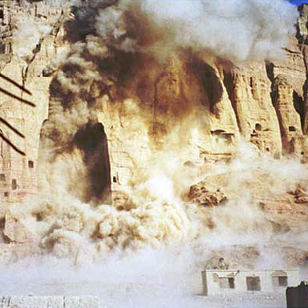 Screen grab from CNN video showing the giant Buddhas of Bamyian being destroyed by the Taliban on March 12, 2001.