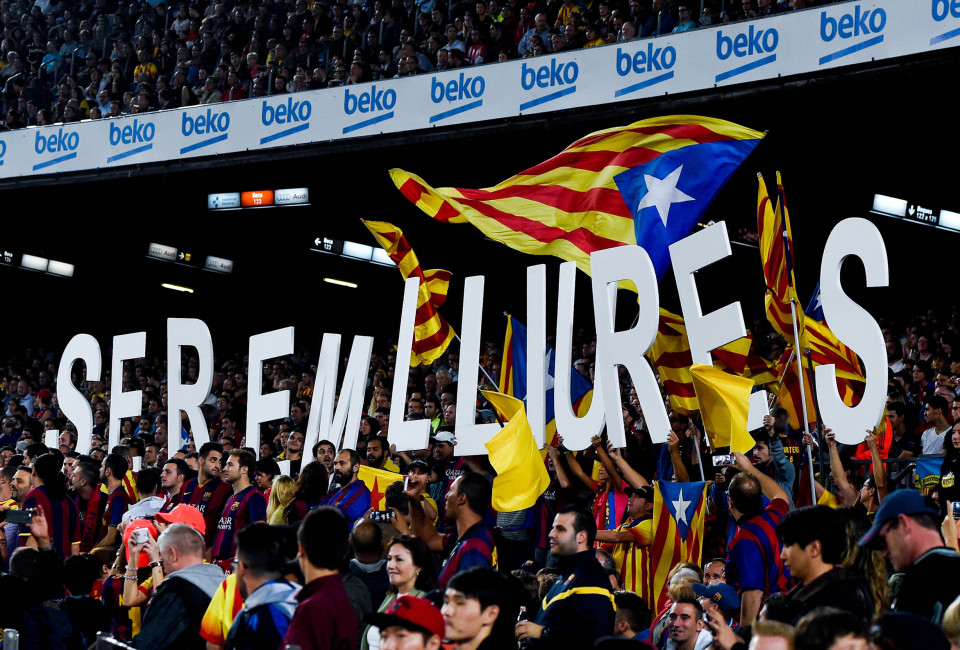 Pro-Independence supporters hold up letters that reads 'We will be free' during the La Liga match between FC Barcelona and Celta de Vigo at Camp Nou on November 1, 2014 in Barcelona, Spain.