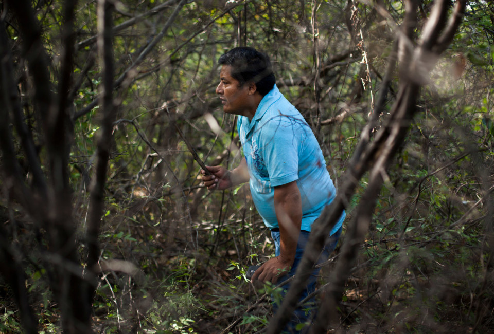Iguala, Guerrero, Mexico- Miguel Ángel Jiménez Blanco searches an area of clandestine graves, near the city of Iguala, Guerrero, Mexico, November 30, 2014. Trash often alerts searches to potential gravesite. Graves were discovered at this site October 10, 2014 and have yet to be excavated. Iguala is the location where 43 students were allegedly kidnapped by local police and handed over to the local cartel Guerreros Unidos. Through searches for the students, many mass graves have been found in the rural mountains in the area.  Photo Brett Gundlock