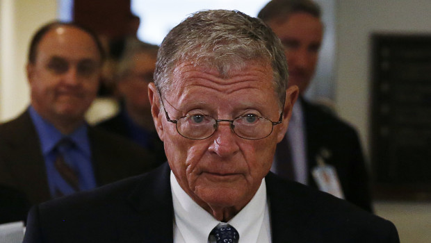 Senate Armed Services Committee ranking member Senator James Inhofe (R-OK) (R) departs a closed hearing on Iraq and Afghanistan in Washington July 8, 2014.   REUTERS/Gary Cameron   (UNITED STATES - Tags: POLITICS MILITARY) - RTR3XNK3