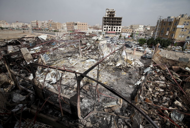 A general view shows a wedding hall destroyed by a Saudi-led air strike in Yemen's capital Sanaa July 12, 2015. At least 10 people were killed in air strikes overnight in Yemen, relatives and medical sources said, as a Saudi-led coalition continued bombing the capital on Sunday in violation of a temporary humanitarian truce. REUTERS/Mohamed al-Sayaghi - RTX1K2ZB