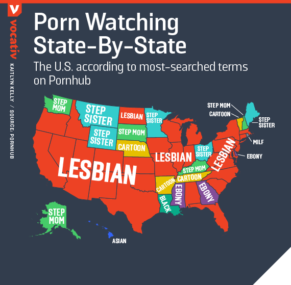 The U.S. according to most-searched terms on Pornhub