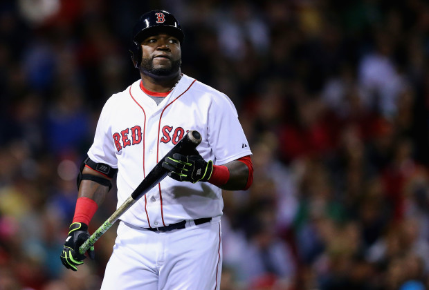 BOSTON, MA - SEPTEMBER 24:  David Ortiz #34 of the Boston Red Sox reacts after striking out during the seventh inning against the Tampa Bay Rays at Fenway Park on September 24, 2015 in Boston, Massachusetts.  (Photo by Maddie Meyer/Getty Images)
