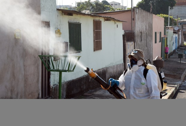 A member of the National Health Foundation fumigates against the Aedes aegypti mosquito, vector of the dengue, chikungunya fever and zika viruses, in Gama, 45 km south of Brasilia, on February 17, 2016. Members of the armed forces and and technicians from the Ministry of Health have been deployed for two days as part of an awareness campaign against the insect throughout Brazil. AFP PHOTO / EVARISTO SA / AFP / EVARISTO SA        (Photo credit should read EVARISTO SA/AFP/Getty Images)