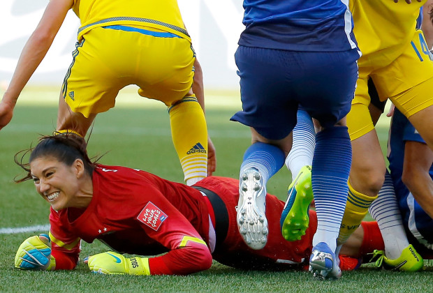 WINNIPEG, MB - JUNE 12:  Goalkeeper Hope Solo #1 of the United States reacts after making a save in goal in the first half against Sweden in the FIFA Women's World Cup Canada 2015 match at Winnipeg Stadium on June 12, 2015 in Winnipeg, Canada.  (Photo by Kevin C. Cox/Getty Images)
