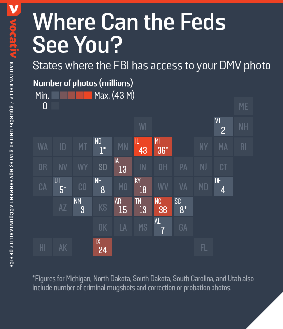 States where the FBI has access to your DMV photo