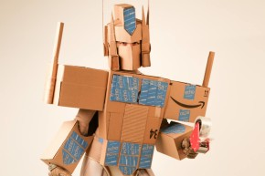 Very Good Human Makes Optimus Prime Costume With Amazon Prime Boxes