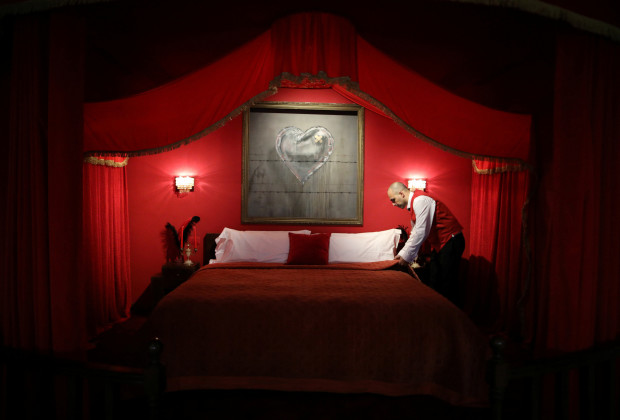 The presidential suite is seen in the Walled Off hotel, which was opened by street artist Banksy, in the West Bank city of Bethlehem March 3, 2017. REUTERS/ Ammar Awad - RTS11BHU