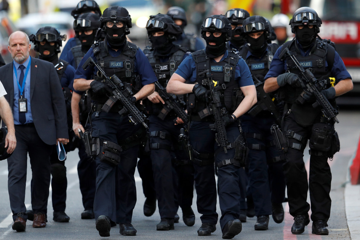 Armed police officers outside Borough Market—REUTERS