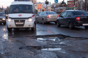 Russians Turn Crumbling Roads Into Water Sports