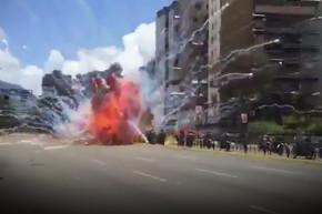 Venezuelan Police Motorcade Rocked By Explosion