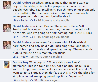Boycott Florida Facebook screenshot