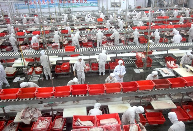 epa03780579 A photograph made available on 08 July 2013 shows workers working on an assembly line in a pork-processing workshop of Shuanghui Group in Luohe city, in central China's Henan province, China, 17 June 2013. Chinese meat processor Shuanghui International Holdings Ltd. agreed on 29 May to buy Smithfield Foods Inc., the world's biggest pork producer, for approximately 4.72 billion dollars. Starboard Value LP, owner of 5.7 percent stake in Smithfield Foods urged the pork producer to reconsider its 7.1 billion dollars sale to Shuanghui.  EPA/JIN YUEQUAN CHINA OUT