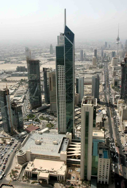 A picture shows a general view of Kuwait City, as seen from Al-Hamra Tower on November 15, 2009. When completed, the tower will become the tallest skyscraper in Kuwait and one of the top 10 tallest towers in the world. Construction on the tower, which will be 450 metres tall and comprise 77 floors, started in 2005. The tower will include 100,000 metre square of commercial and office space, as well as movie theatres, a rooftop restaurant and a spa. AFP/Getty Images