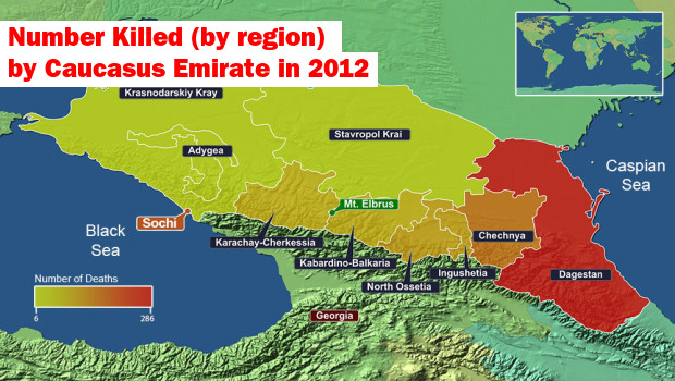 Number of people killed by Caucus Emirates in 2012 by region