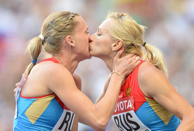 Russian Kissing Athletes Feature