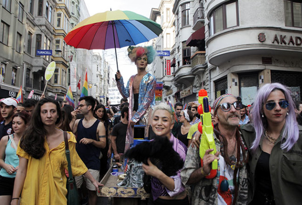 People march and chant at an Istanbul gay pride parade in June. (Gurcan Ozturk/AFP/Getty Images)