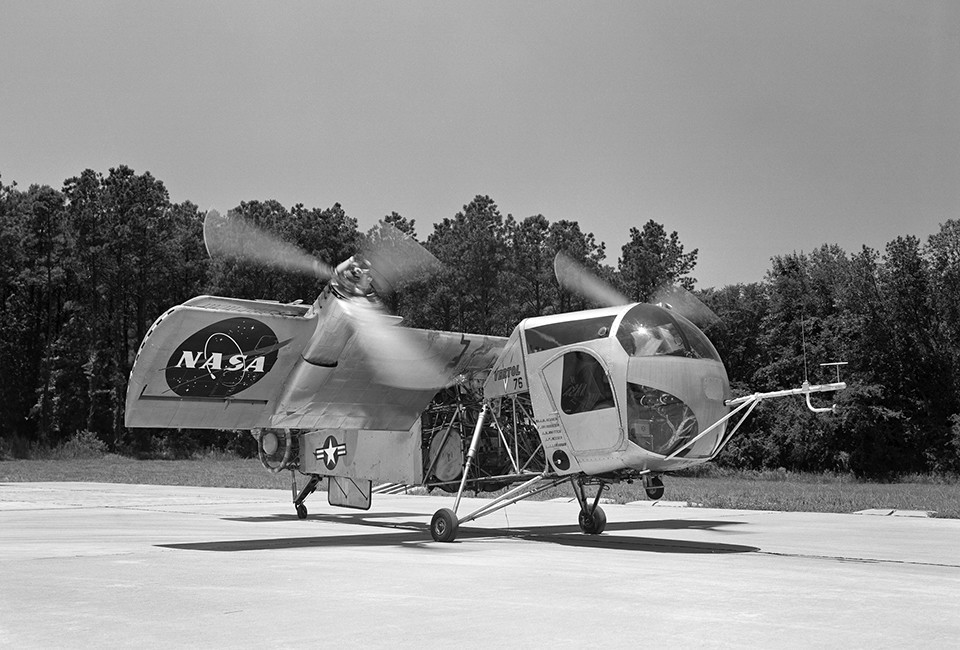 Arriving at Langley from Edwards Air Force Base, Califorina in 1960, this Vertol VZ-2 (Model 76) underwent almost a year and a half of flight research before going back to the manufacturer for rework. The VZ-2 was used to investigate Vertical Take-Off and Landing (VTOL).