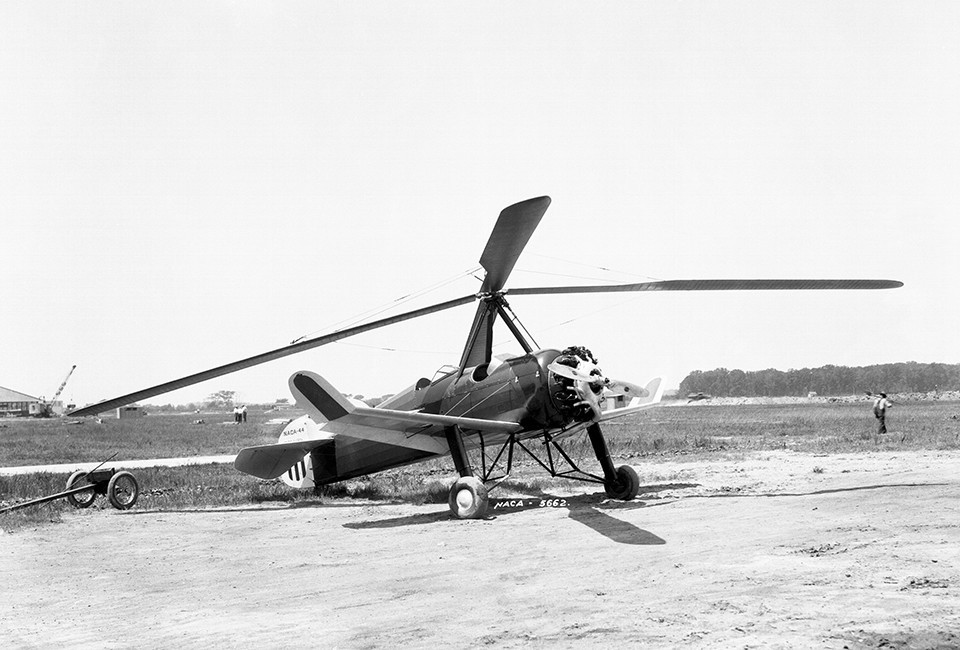 This Pitcairn PAA-1 autogiro was flown at Langley for the NACA investigation of an experimental cantalevered three-bladed rotor.