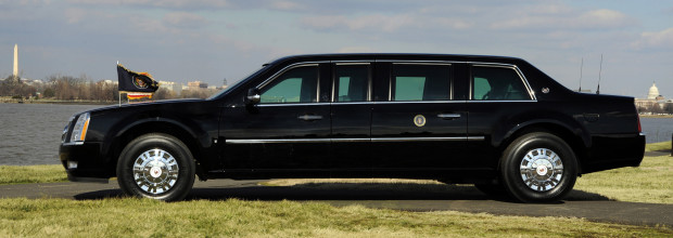 In this handout image released by the U.S. Secret Service on January 14, 2009, the new Cadillac armored presidential limousine that will carry President-elect Barack Obama as part of the 56th Presidential Inauguration is shown, following the tradition of integrating new U.S. Secret Service vehicles into the fleet for Inaugural parades.  REUTERS/Courtesy of U.S. Secret Service/Handout    (UNITED STATES) - RTR23E14