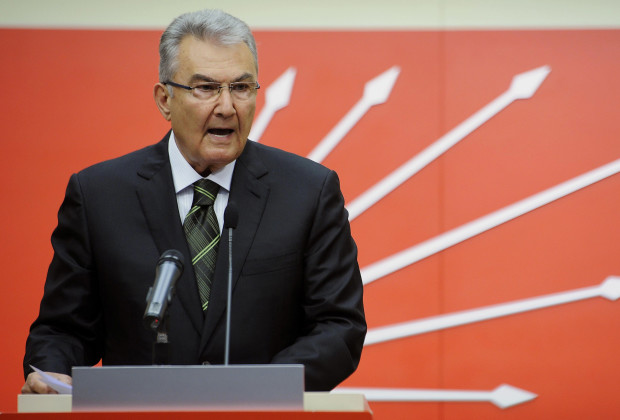 The leader of Turkey's main opposition Republican People's Party (CHP) Deniz Baykal addresses the media in Ankara May 10, 2010. Baykal resigned on Monday saying he was the victim of a conspiracy following the release of a videotape on the Internet purporting to show him and a woman in a bedroom. Baykal said the ruling party - the AK Party, whose roots lie in political Islam - must have had knowledge of the videotape. REUTERS/Stringer (TURKEY - Tags: POLITICS) - RTR2DP09