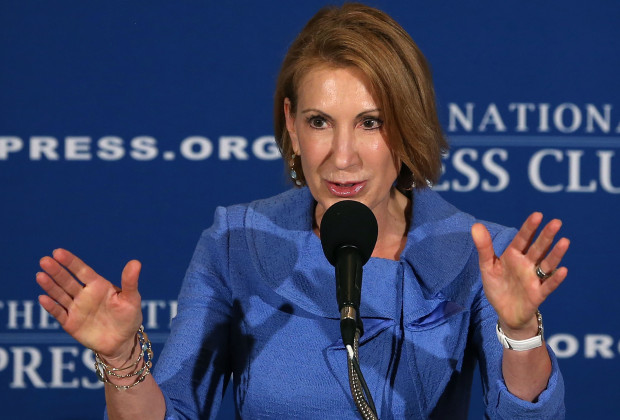 WASHINGTON, DC - JULY 01: Carly Fiorina, Chairman of Good360, and former CEO of Hewlett-Packard, speaks at the National Press Club, July 1, 2013 in Washington, DC. Ms. Fiorina was the guest speaker for the Press Club's newsmaker luncheon and spoke about American innovation and leadership in the 21st century.  (Photo by Mark Wilson/Getty Images)