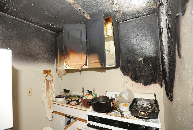 THE WALLS AND ceiling in a kitchen are charred in an explosion caused by a combination of marijuana and butane in a PVC pipe at 3137 Goldner in Placerville on Thursday, December 20th. Democrat photo by Shelly Thorene