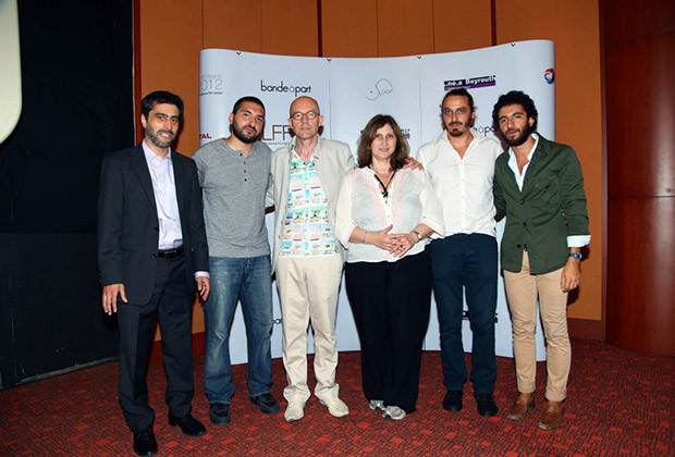 The Lebanese Film Festival jury of 2012: (L-R) Pierre Sarraf (former president), Ibrahim Maalouf, Christophe Donner, Suzanne Khardalian, Ziad Antar and Sabyl Ghoussoub.