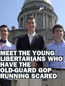 "24 May 2012, Frankfort, Kentucky, USA --- In this May 24, 2012, photo, John Ramsey, center, accompanied by Preston Bates left, and Doug Lusco, right, young Republicans involved in the Liberty For All political group, stand in front of the state Capitol in Frankfort, Ky. John Ramsey stands out in a new campaign finance world order filled with big names like Republican casino mogul Sheldon Adelson and Democratic Hollywood producer Jeffrey Katzenberg. The little-known senior at Stephen F. Austin University.is the founder of a team of college-aged Republicans that liberals have dubbed the ""Brat PAC,"" which helped propel one congressional candidate to victory and intends to get involved in other House races. And he's just the latest wealthy individual to try to influence federal elections in the wake of a series of federal court decisions that deregulated the campaign finance system and dramatically changed the country's political landscape. (AP Photo/Roger Alford) --- Image by © Roger Alford/ /AP/Corbis"
