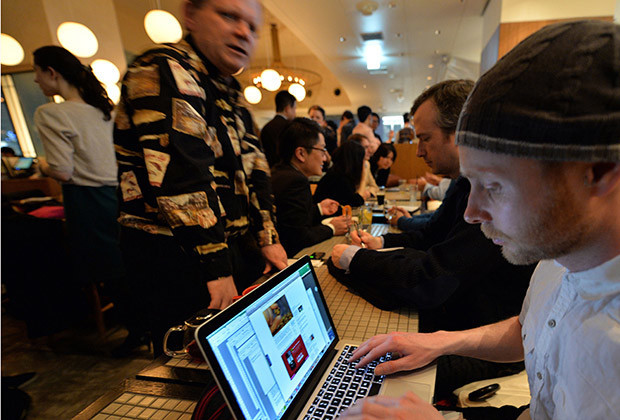Members of a bitcoin trading club hold a meeting in Tokyo on February 27, 2014. Bitcoin users in Tokyo gathered for a meeting set to be dominated by the shuttering of the MtGox exchange amid claims of a multi-million dollar theft.