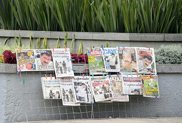 "View of the covers of Mexican newspapers in Mexico City, on February 23, 2014, after Mexican drug trafficker Joaquin Guzman Loera aka ""el Chapo Guzman"" was arrested yesterday by Mexican marines. Guzman is the Sinaloa cartel leader and the most wanted by US and Mexican anti-drug agencies."