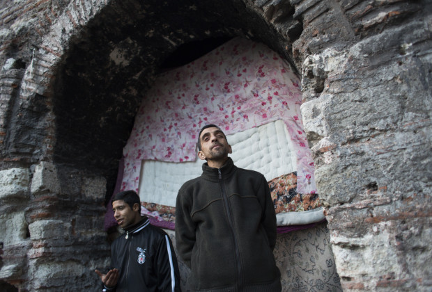Ihsan, l, and Rifat live with other homeless people and drug addicts inside an abandoned 17th century Ottoman structure. PHOTO BY JODI HILTON