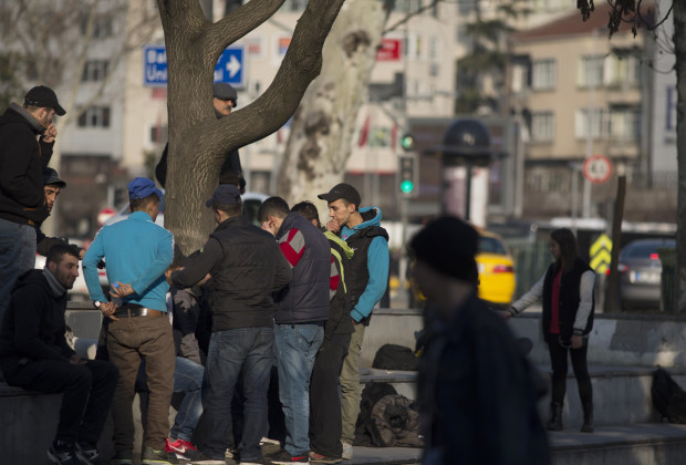 Drug users gather in a Besiktas park to inhale paint thinner. PHOTO BY JODI HILTON