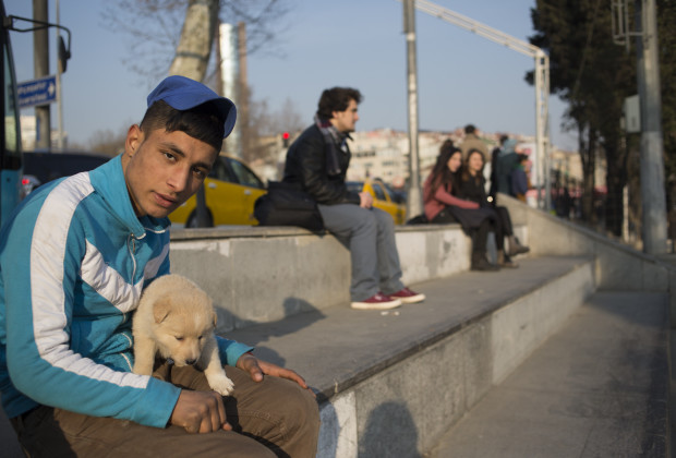 Ferdi with his dog, Tommi. He hangs around with other drug users in the Besiktas area of Istabul. PHOTO BY JODI HILTON