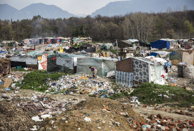 Liqeni Roma camp in Tirana, Albania, one of the poorest settlements in the city.  PHOTO BY JODI HILTON