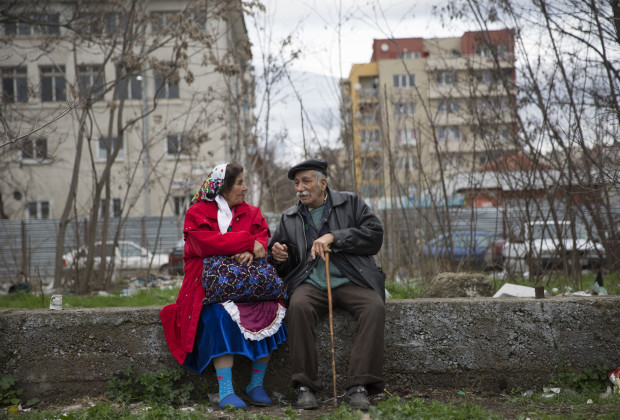An elderly Kalaidzhi couple talk at the annual meeting of their clan, one of the most conservative Roma groups.