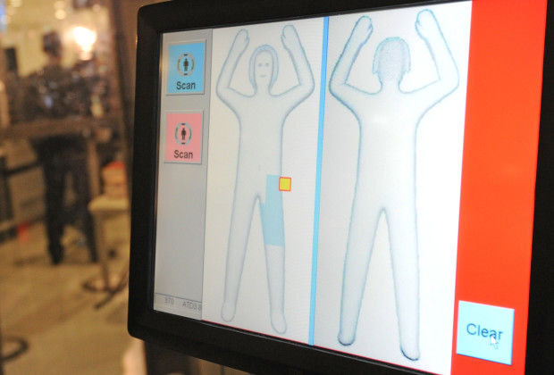 A body profile is displayed Australia's first full body scanner at Sydney International Airport on August 1, 2011. A trial using the L3 ProVision Body Scanner -- the most advanced passenger screening technology in the world -- will take place at Sydney and Melbourne Airports on 2 - 19 August.  AFP PHOTO / Torsten BLACKWOOD (Photo credit should read TORSTEN BLACKWOOD/AFP/Getty Images)