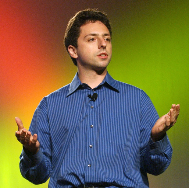 SAN FRANCISCO - AUGUST 13:  Google co-founder and president Sergey Brin delivers a keynote address at the Linux World Conference and Expo August 13, 2002 in San Francisco, California.  (Photo by Justin Sullivan/Getty Images)