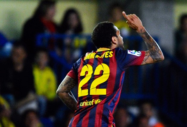 Dani Alves of FC Barcelona celebrates after scoring his team's first goal during the La Liga match between Villarreal CF and FC Barcelona.