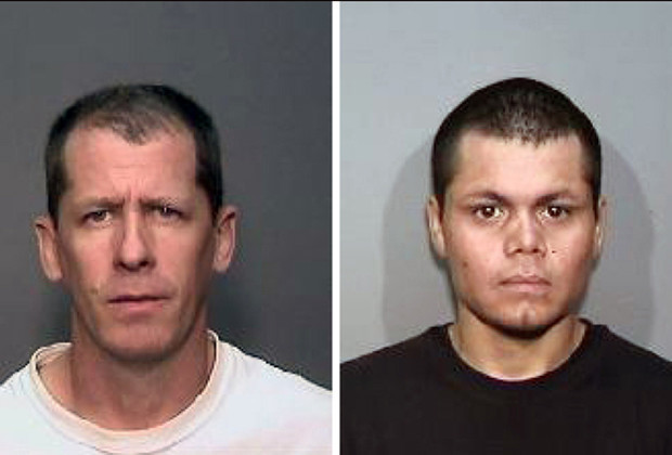 This combination of undated photos from the Megan's Law website shows suspects, Steven Dean Gordon, 45, left, and Franc Cano, 27, who were arrested on Friday, April 11, 2014, on suspicion of killing four women in Orange County, Calif. Anaheim police said detectives in Santa Ana and Anaheim launched a joint investigation after the naked body of Jarrae Nykkole Estepp, 21, was found in the conveyor belt of a recycling plant last month. The probe led detectives to connect the men to her slaying, and the disappearance of three women who frequented a Santa Ana neighborhood known for drug dealing and prostitution.
