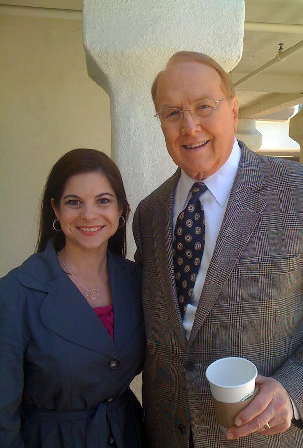 Monica Cole, director of One Million Moms is seen with Dr. James Dobson during an event on June 25, 2012.
