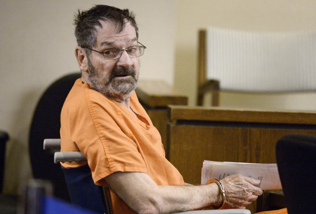 OLATHE, KS - APRIL 24:  Frazier Glenn Cross, also known as Frazier Glenn Miller, sits with his defense team after being wheeled into a Johnson County courtroom for a scheduling session April 24, 2014, in Olathe, Kanas. Miller is charged in killing two people at the Jewish Community Center of Greater Kansas City and one person at Village Shalom Retirement Community, in Overland Park, Kanas.  (Photo by John Sleezer-Pool/Getty Images)